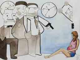 Sandra Törnroth (f.1980), Det där är ingen sann Moder, säger herr Monoelit. Bara Företaget föder barn, Illustration i serien Monoelit 1, 2015, A3, 110 EUR inkl moms.
